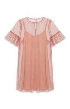 Blush Mesh Fluted Sleeve Dress