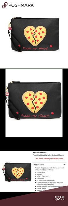 Just inBetsey Johnson Pizza my ❤️ Wristlet New Cute Black Wristlet. Detailed Description on pictures. Thanks ❤️ Betsey Johnson Bags Clutches & Wristlets