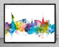 London watercolor Skyline Print Watercolor Print by MyVisualArt