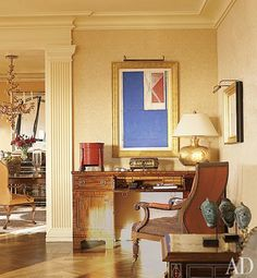 A work on paper by Richard Diebenkorn is grouped with a 19th-century English desk and armchair | archdigest.com