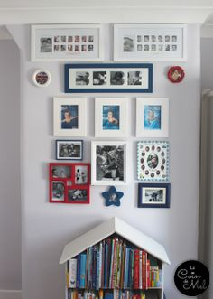 Fun Photo Wall Idea – www.lecoindemel.com. Love all the different shapes, colour scheme & styles of frames!