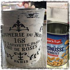 PfUeTzEnHuEpFeR`s Welt  #pfuetzenhuepfer #shabbychic #upcycling #vintage #diy #paris #peanut #can #chalkpaint Paris, Annie Sloan, Rose, Chalk Paint, Shabby Chic, Canning, Vintage, Diy, Manualidades