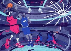 Swish or Swat double page fold out advert by Andrew Archer (40 x 29cm) AD: Alex Landoni  #advertising #andrew_archer #artists_on_tumblr #basketball #debut_art #drawing #editorial #illustration #illustrations #lifestyle #line #sport #sports #usa #eyeli