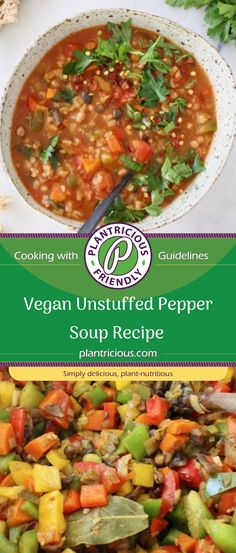 Vegan Unstuffed Pepper Soup recipe with mushrooms and whole grain farro in a lightened up, healthy and hearty tomato based soup broth. Easy to make, meatless, plant based vegan!
