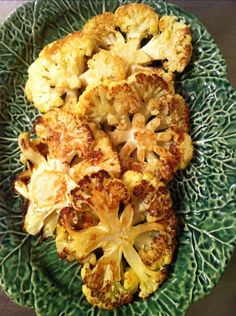 roasted cauliflower... throw it in the oven with garlic infused olive oil, sea salt and lemon juice. so good!