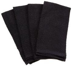 Amazon.com - DII 100% Cotton Basic Waffle Terry Towel Set of 4, Black - Kitchen Towels #AmazonCart #DII #DesignImports