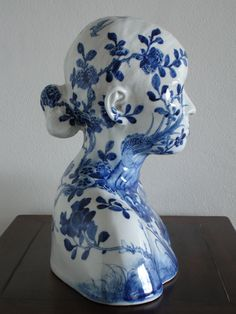 Ah Xian, 'China, China-Bust porcelain in underglaze cobalt-blue with flower and bird design. Image courtesy and collection of the artist. © Ah Xian Modern Ceramics, Contemporary Ceramics, Contemporary Art, China Art, China China, Bone China, Colored Vases, Japanese Flowers, Blue And White China