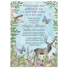 Watercolor woodland enchanted forest baby shower invitation for a girl. This woodland forest baby shower invitation features a deer silhouette, butterflies, a bird, and a variety of woodland branches, leaves, and flowers. Perfect for an enchanted forest or woodland baby shower for a new mom expecting a baby girl! There are all sorts of wildflowers, berries, and fairy lights as well as leafy branches and a blue sky background. There is also a bird that is similar to a robin, a forest deer, and tw Baby Girl Shower Themes, Baby Shower Invites For Girl, Baby Shower Invitations, Fairy Baby Showers, Forest Baby Showers, Woodland Forest, Woodland Baby, Enchanted Forest Theme Party, Deer Silhouette