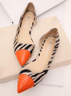 British sense of modern elegance feminine side collision color stitching empty zebra pointed flat shoes shoes shoes