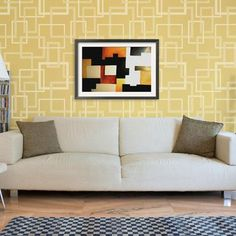 Create an allover wallpaper effect without ruining your walls with modern wall stencils! The geometric and overlapping squares of the Hip to be Square Allover Pattern Stencils creates a look of contin