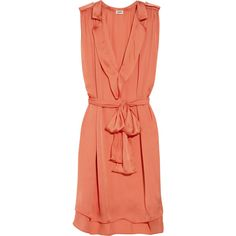 L'Agence Belted satin dress ❤ liked on Polyvore