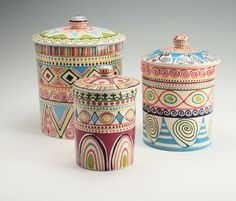 Bohemian Canister Set Multicolor with Lids por owlcreekceramics