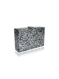 2e5e9231abfbcb Milanblocks Sultana Black and Silver Glitter Acrylic Box Clutch - PR-A-PO
