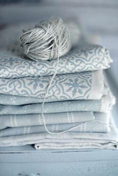 Duck egg blue fabric in various designs. Blue Ivory, Blue And White, Blue Grey, Blue Pearl, Dusty Blue, Bleu Pastel, Linens And Lace, Fabulous Fabrics, Colour Schemes