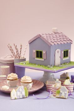 Doll house cake, cookies and cupcakes as featured in my new cake decorating book, by Hana Rawlings, photo by David Turecky
