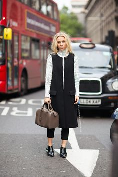 well played with that Balenciaga top and long vest. #SandraHagelstam in London.