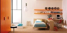 Turquoise Orange Bed Room