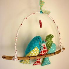 Love Birds with Baby, by Kirsty Elson Designs Cute Crafts, Crafts To Make, Fabric Crafts, Sewing Crafts, Fabric Toys, Kirsty Elson, Personalised Gifts Handmade, Bird Mobile, Bird Theme