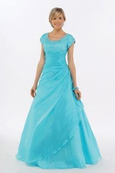 Blue Satin Prom Dress Evening Gown