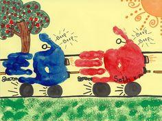 Car handprints preschool art ideas транспорт и алфавит. Preschool Transportation Crafts, Preschool Crafts, Preschool Themes, Crafts To Do, Crafts For Kids, Arts And Crafts, Toddler Art, Toddler Crafts, Toddler Learning