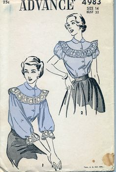 Vintage 1940's Women's Blouse Pattern by AtomicRegeneration, $8.95