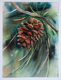 watercolor painting of pinecone with wild greens. Deb Watson.