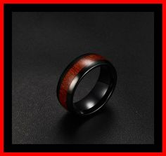 Tungsten ring met hout afwerking