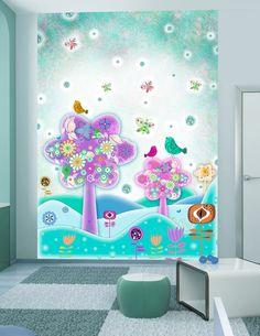 """♩ ♫ ♬ Fototapete """"Radio Vögel"""" ♩ ♫ ♬ Schaffe eine zauberhafte Umgebung in einem kleinen Reich deiner Kinder! ♥ ♡ Kinderzimmer, Babyzimmer, Junge, Mädchen, magische Fototapete ♥ ♡"""
