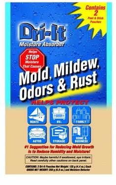 Dri-It MA-2-125-A Moisture Absorber with Disposable Peel and Stick Backing Packets, 2-Pack by Dri-It. $7.99. From the Manufacturer                Twin-Pack saves you 20-Percent over the price of single packs.  It's never been easier or more convenient to tackle mildew in closets, basements, storage lockers, boats and RVs. Dri-It Moisture Absorber helps prevent mold, mildew, odors and rust by drawing moisture out of the air and collecting it in neat, disposable pack...
