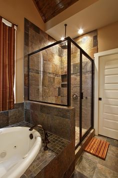 slate bathroom ideas | Slate tile, shower/bath combo, wall color. | Master bath remodel ideas