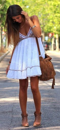 Thin strap flowy white mini dress