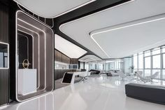 Office Interior Design, Office Interiors, Interior Decorating, Interior Ideas, Entrance Design, Hall Design, Lobby Design, Futuristic Interior, Futuristic Design