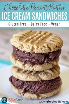 PEANUT BUTTER CHOCOLATE ICE CREAM SANDWICHES Peanut Butter Cookies and Dairy Free Chocolate Ice Cream are an irresistible combination! These homemade Ice Cream Sandwiches will be one of your favorite summer desserts! || summer dessert recipe || cookie sandwich || easy dessert ideas || gluten free dairy free || vegan dessert || #gfreefoodie #icecreamsandwiches