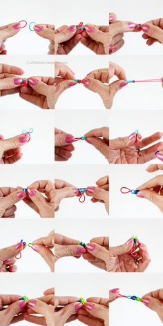 SINGLE pattern RUBBER BAND bracelet or necklace WITHOUT the loom! DIY tutorial - Kids LOVE to make them!