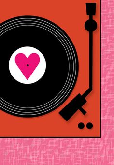20 Awesome Valentine's Day Cards: I happen to think music is the language of love (see Mixtape card above) and this Rock Scissor Paper retro Turntable card says it all with it's spinning heart.