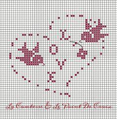 Prima di S. Cross Stitch Heart, Cross Stitch Cards, Cross Stitch Animals, Wedding Cross Stitch Patterns, Cross Stitch Designs, Crochet Placemats, Cross Stitch Freebies, Fillet Crochet, Crochet Wedding