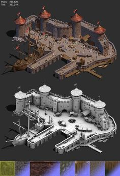 Pre-rendered / isometric view of a medieval town square. - Pre-rendered / isometric view of a medieval town square. This scene contains a … - Fantasy City, Fantasy Castle, Fantasy Map, Medieval Fantasy, Environment Concept Art, Environment Design, Game Environment, Medieval Houses, Medieval Town