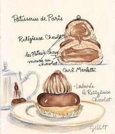 I love how Carol Gillott of  Parisbreakfasts blog watercolours pastries in Paris!