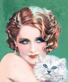 Norma Shearer and cat as illustrated by Henry Clive, early 1930s.