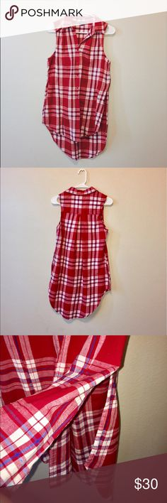 """Plaid Button-Down High-Low Tunic/Top Like New 🖤❤️ Fashion Web Plaid Sleeveless Tunic Top. Worn Once. In perfect condition. Like New. High-Low style with following measurements: 35"""" long in back, 30"""" long in front. 34"""" Bust/Chest. Button-Down Fashion Web Tops Tunics"""