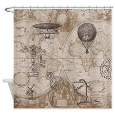 Steampunk Style Shower Curtain - Gears of Flight  - Home Decor - Bathroom - maps, antique brown, beige