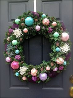 Pastel Christmas Wreath Large Christmas by WreathsByRebeccaB