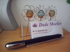 Business Name Card Memo Note Display Pen Pencil Holder Desk Organizer Positive Messages Flowers Cabochon Office Home Gift