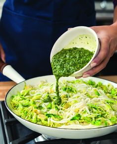 """Keep healthy and curl up with this warm pesto turnip """"pasta""""."""