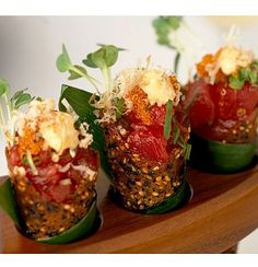Spicy tuna tartare in sesame miso cones