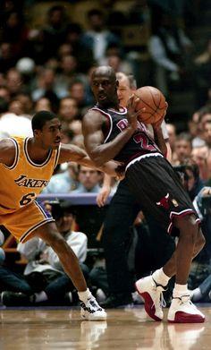 b89b22522d6715 Michael Jordan and Eddie Jones - Los Angeles Lakers Indoor Basketball Hoop
