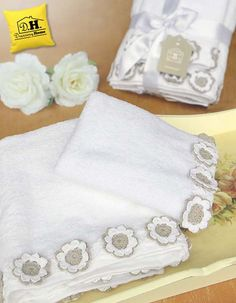 Coppia di asciugamani by Angelica Home & Country Nobless Nature Collection in colore Bianco