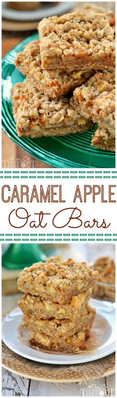 Caramel Apple Oat Bars are the perfect way to celebrate the season! Packed full of fresh apples, nuts and oozing with caramel, these bars are hard to resist!   MomOnTimeout.com