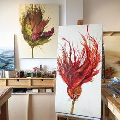 My studio is being transformed into a conservatory. In the final stretch for my upcoming show and putting the finishing touches on the red floral.  I'm calling this one Brave Heart and the floral in the background is titled Grace.  #encaustic #artlife #fineart #botanical #flow #workinprogress #aliciatormey #HallSpassovGallery