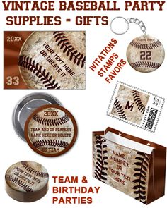 Personalized Vintage Baseball Party Ideas, Favors, Vintage Baseball Invitations with matching stamps. CLICK: http://yoursportsgifts.com/customizable-vintage-baseball-party-supplies  Unique baseball party supplies and gifts. Text box templates for Your Text. 100% GUARANTEED. See all Vintage Baseball Gifts HERE: http://www.zazzle.com/yoursportsgifts/gifts?cg=196287291800049169&rf=238012603407381242 CALL us to create personalized baseball gifts for you. Rod or Linda: 239-949-9090